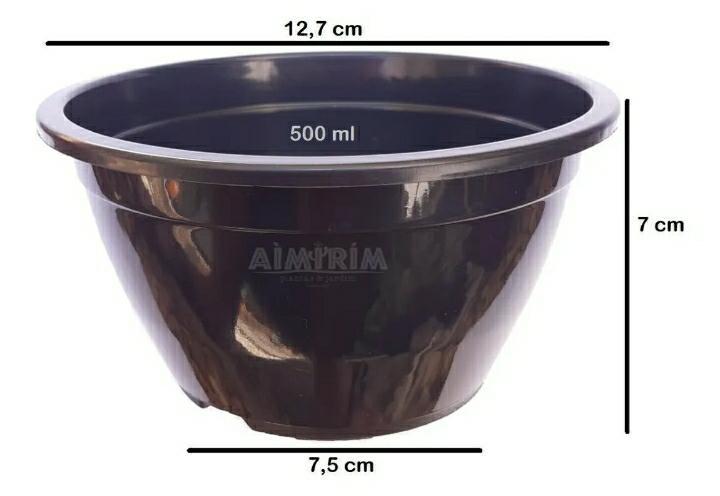 50 Vasos Cuia 13 para suculentas - Preto