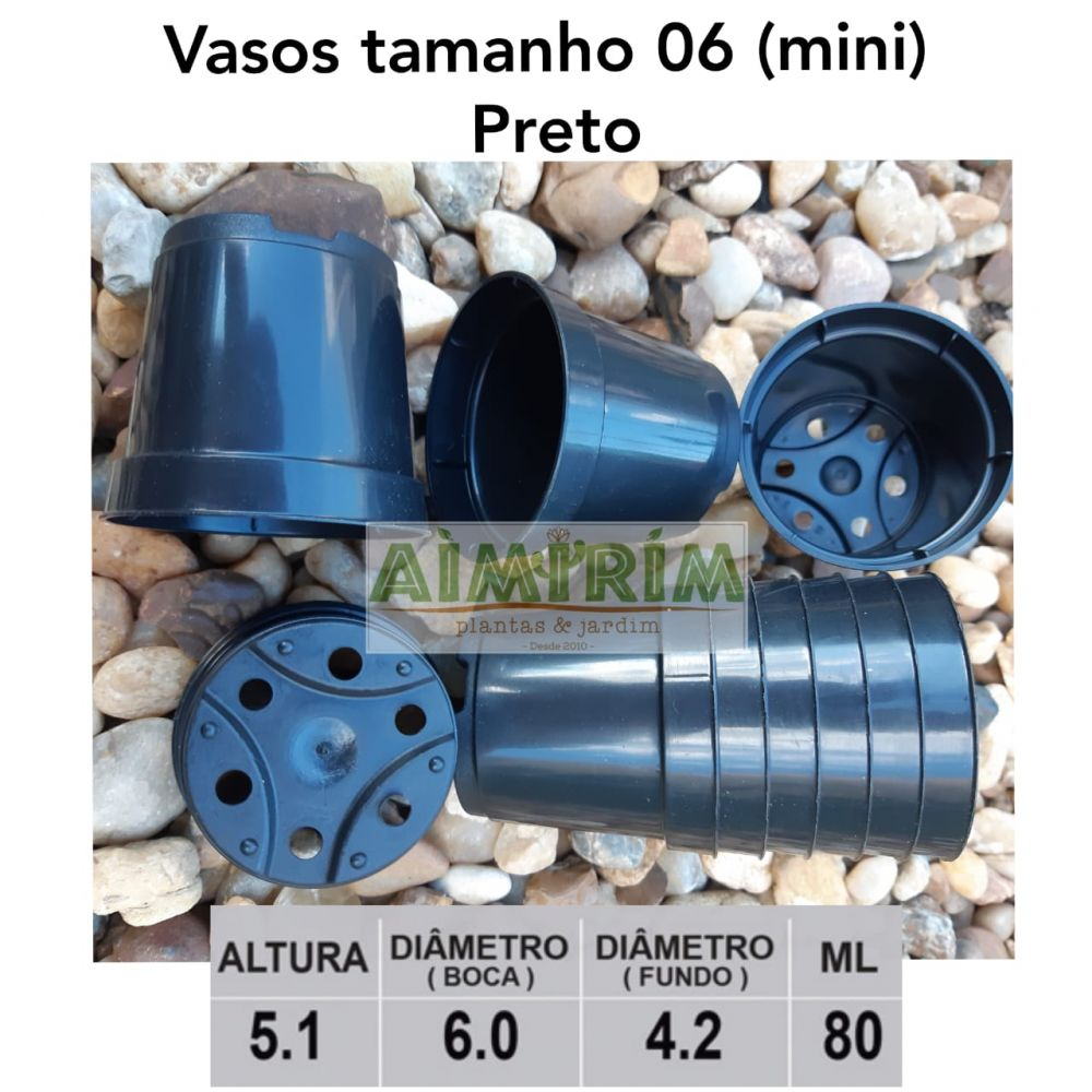 100 Mini Vasos Pote 6 para cactos suculentas - Preto