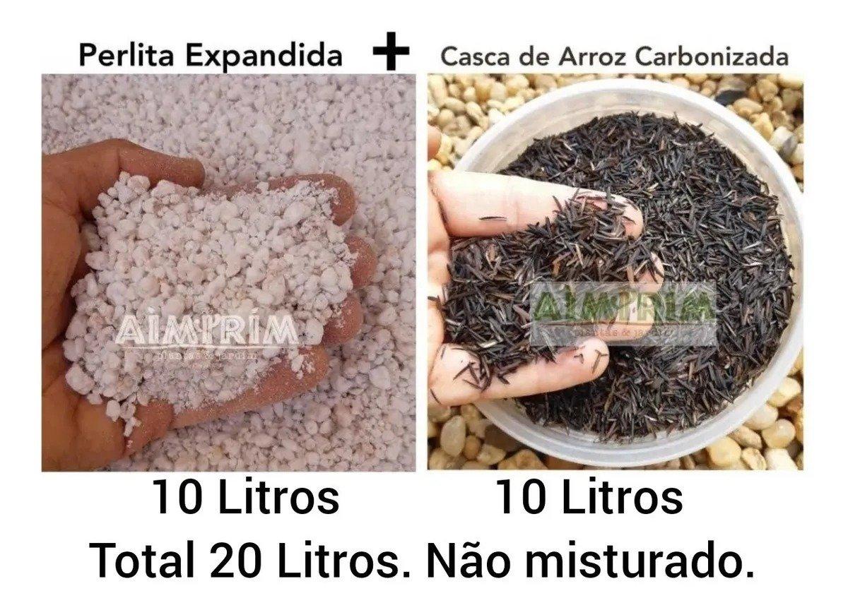 kit: 10 Litros  Perlita Expandida e 10 Litros Casca De Arroz Carbonizada