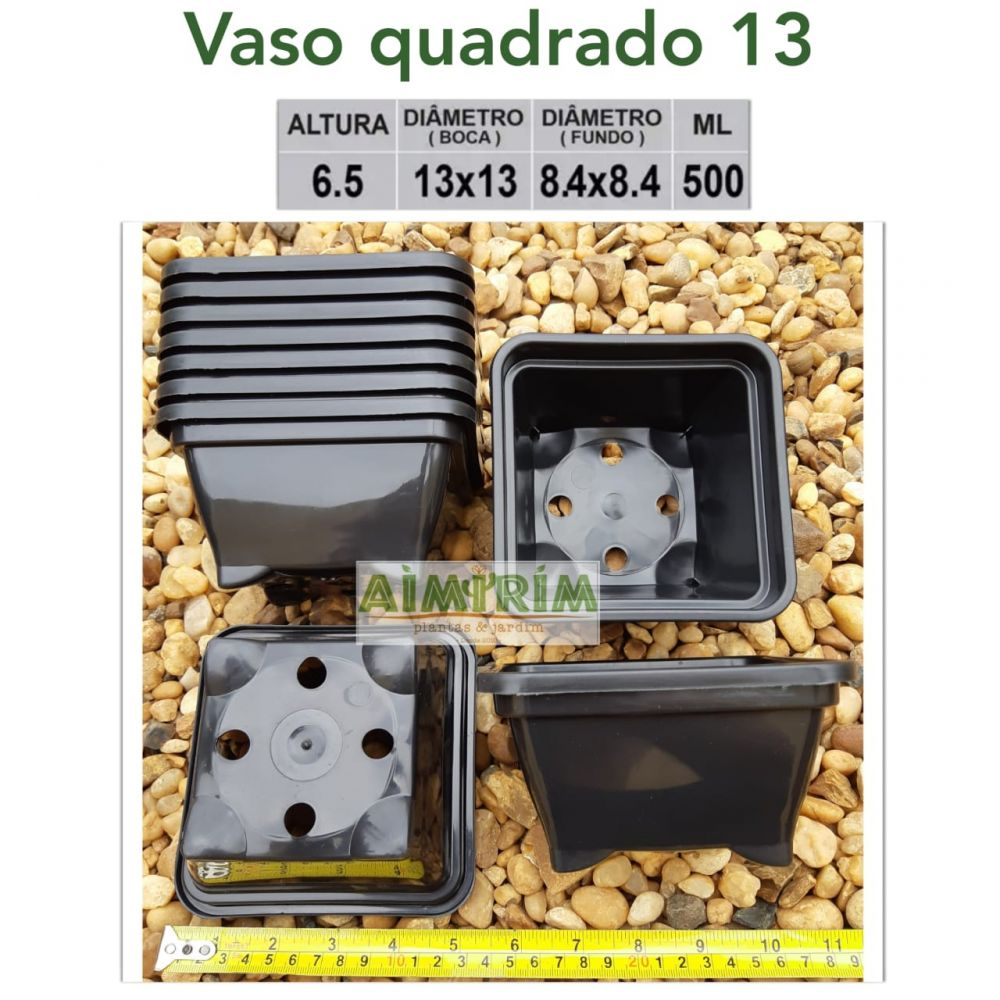 15 Vasos quadrado 13 x 13  - Preto