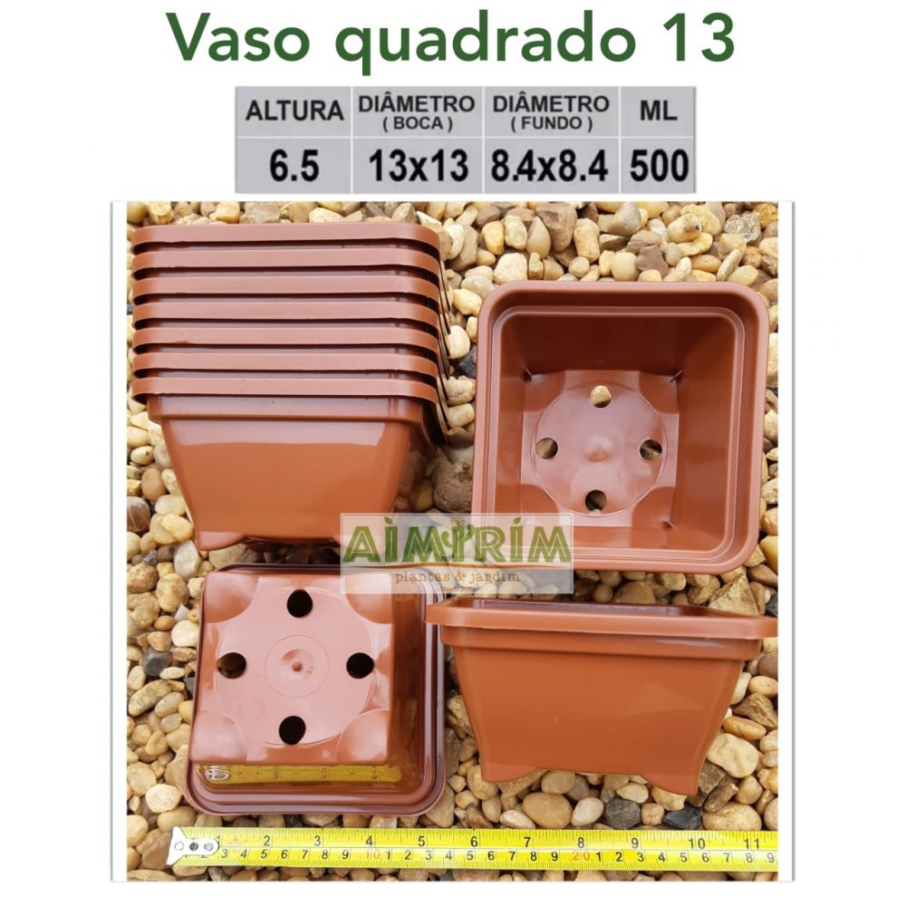 25  Vasos Quadrado 13 x 13 - Marrom