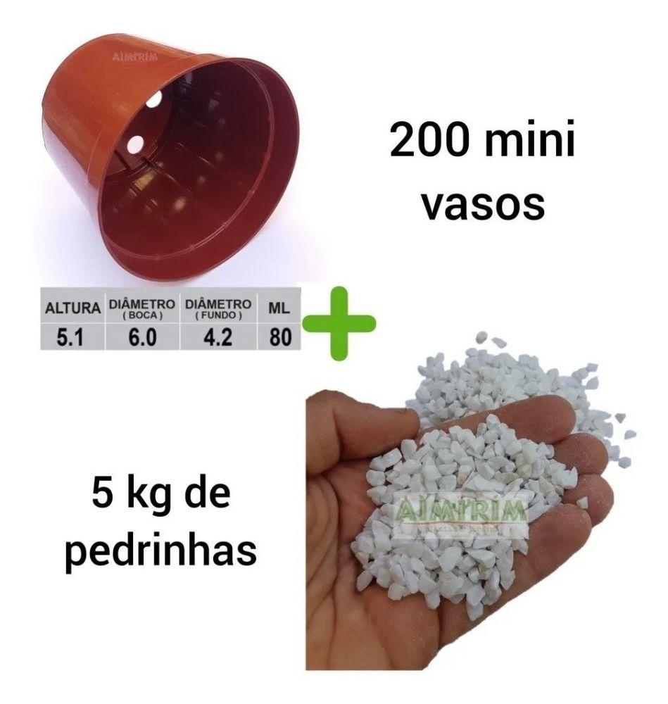 Kit:  200 Mini Vasos Pote 6 Marrom e 10 Kg de Pedrinhas Branca