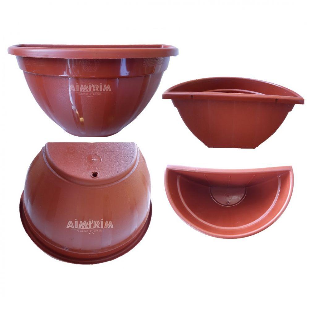 5 Vasos De Parede Meia Lua Plantas Pendentes - Marrom