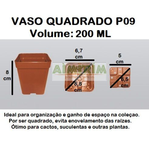 100 Vasos  quadrado 9 - Marrom