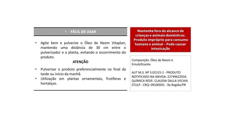 Óleo de Neem Pronto uso - Produto Natural - 500 mL